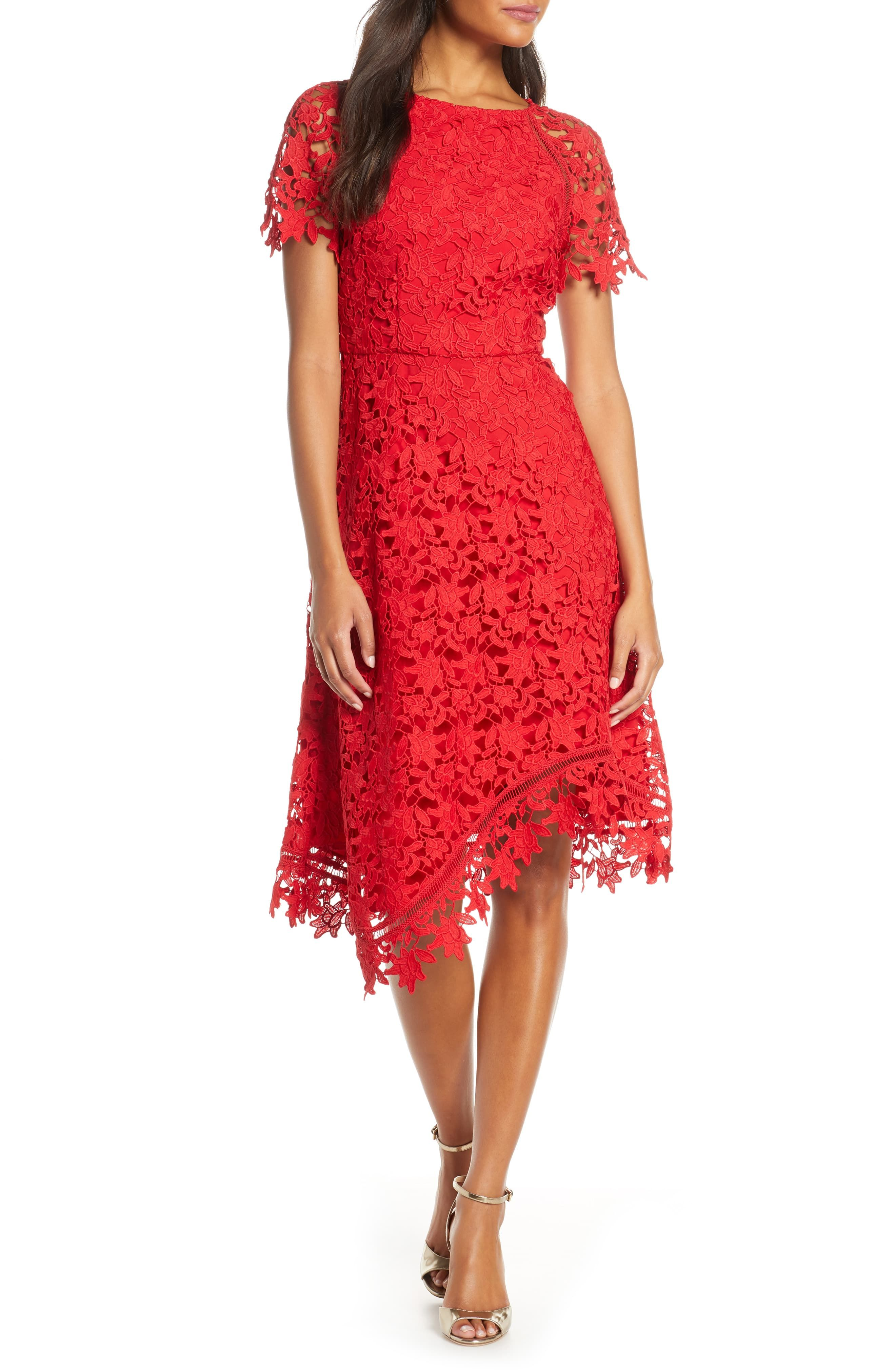 Eliza J Asymmetrical Lace Dress Nordstrom Red Lace Midi Dress Lace Dress Striped Knit Dress [ 4048 x 2640 Pixel ]