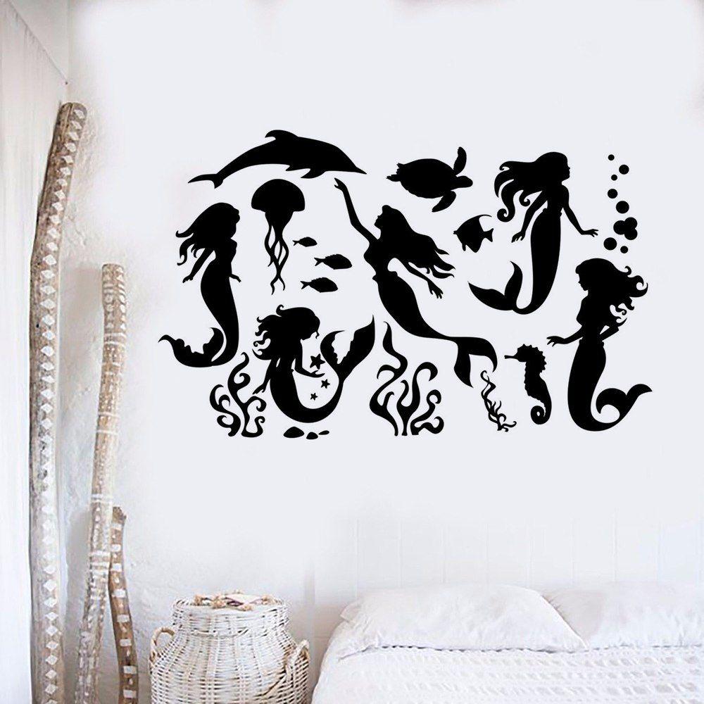 Muur Sticker Ontwerpen.Goedkope Zeemeermin Silhouet Vinyl Muursticker Mermaid