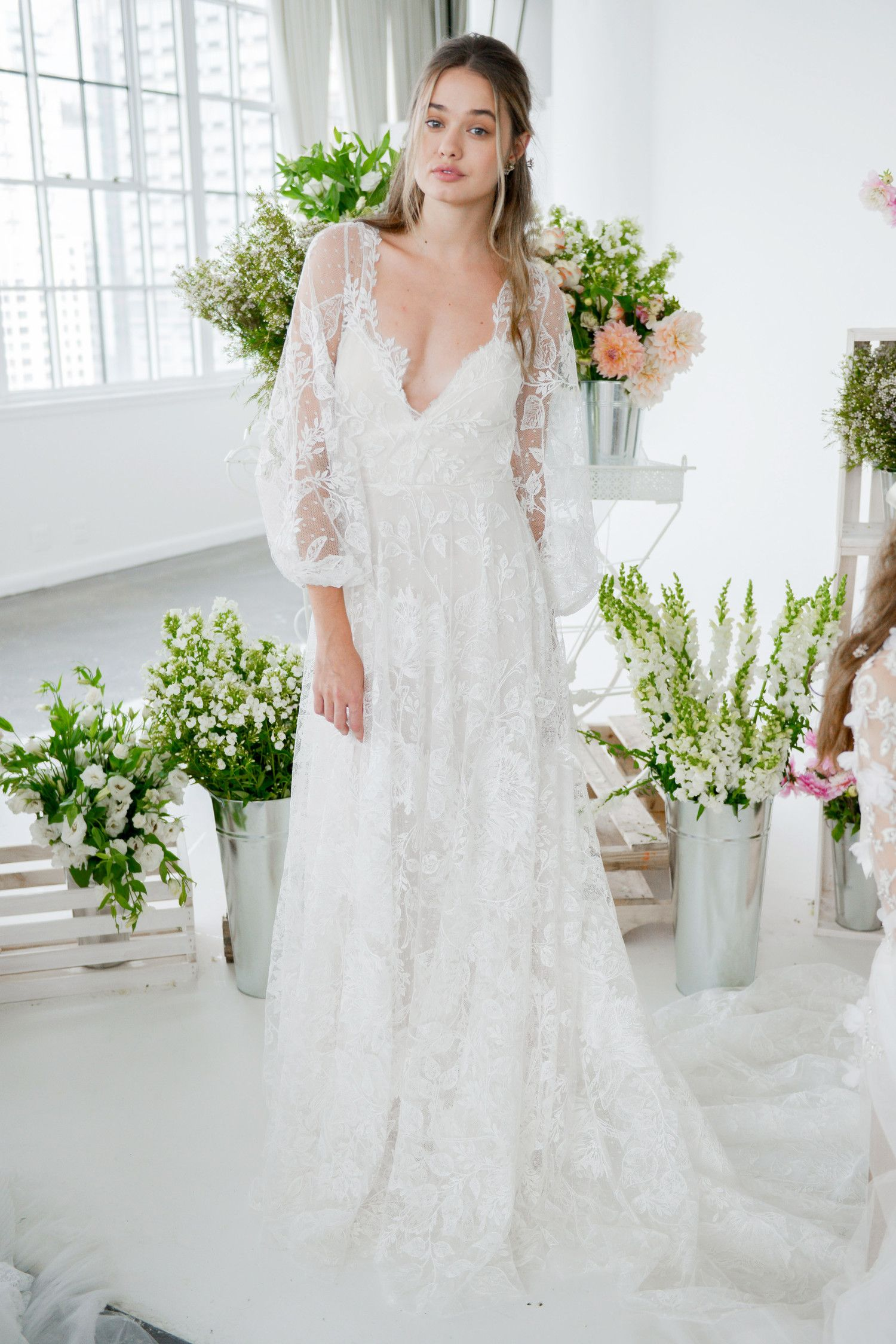 20e08c5d1ddde This ethereal Marchesa Notte Fall 2018 wedding dress would be perfect for a  breezy outdoor wedding.