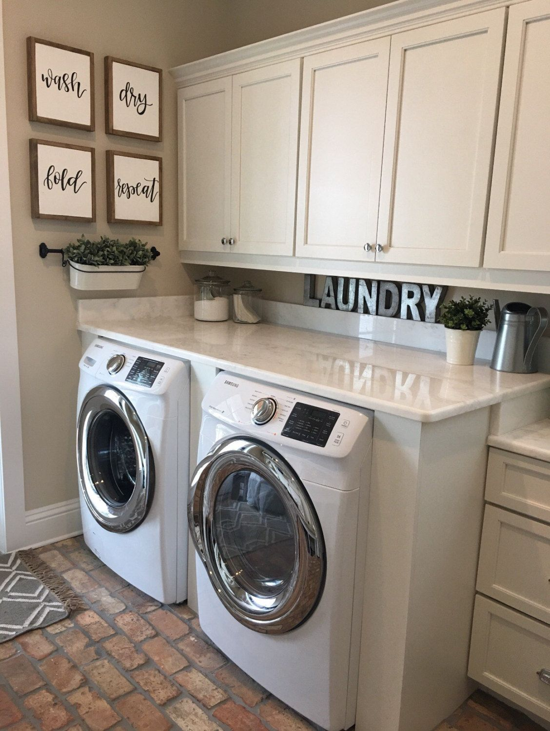 Photo of Wash Dry Fold Repeat Signs | Laundry Room Sign | Rustic Home Decor | Mudroom Signs | Laundry Room Wall Decor | Farmhouse Sign Fixer Upper