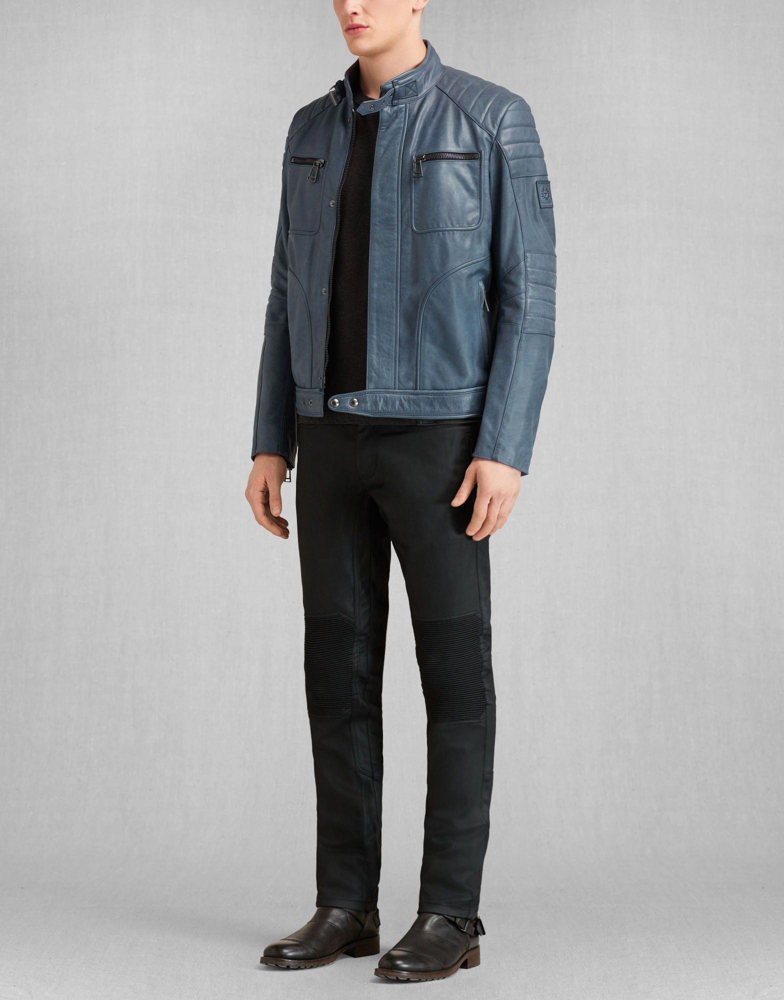 Weybridge Jacket Navy Leather Leather