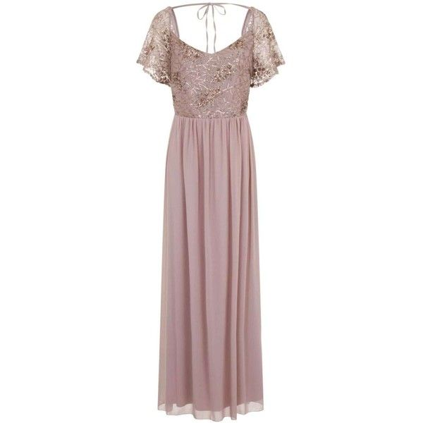 **Little Mistress Mink Sequin Maxi Dress ($69) ❤ liked on Polyvore featuring dresses, brown, sequin embellished dress, brown sequin dress, maxi dress, little mistress dresses and sequin maxi dress