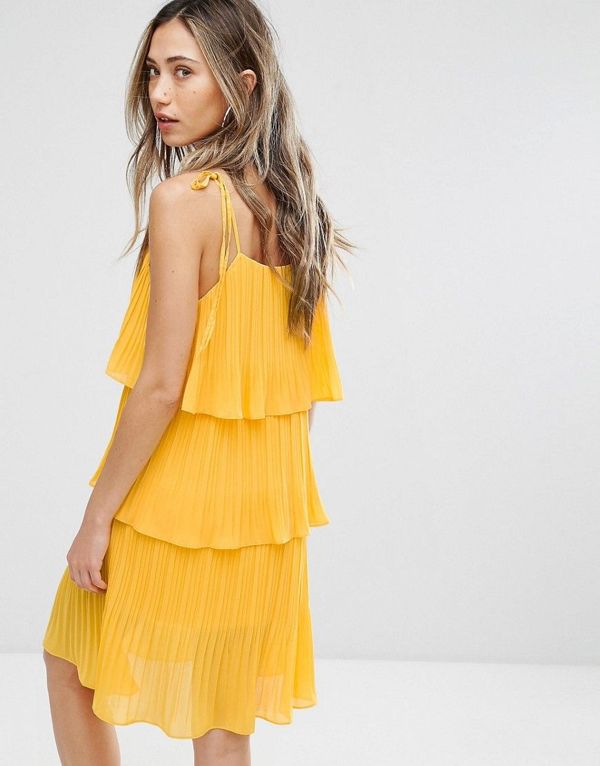 Warehouse tiered lace dress yellow  Pearl Pleated Tiered Dress  Yellow  Pinterest  Pearls and Products