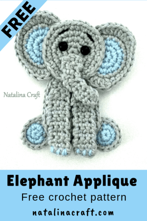 Free Crochet Pattern Elephant Appliqué Crochet elephant