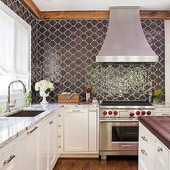 Kitchen With Brown Moroccan Tiles Backsplash