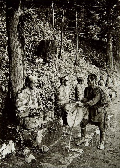 iseo58:  Bake-Jizo Trail. Nikko, Japan. Circa 1925. The Bake-jizo (Ghost Jizo) Legend says that if you count them on your way up the trail and on your way back, you will end up with a different number.
