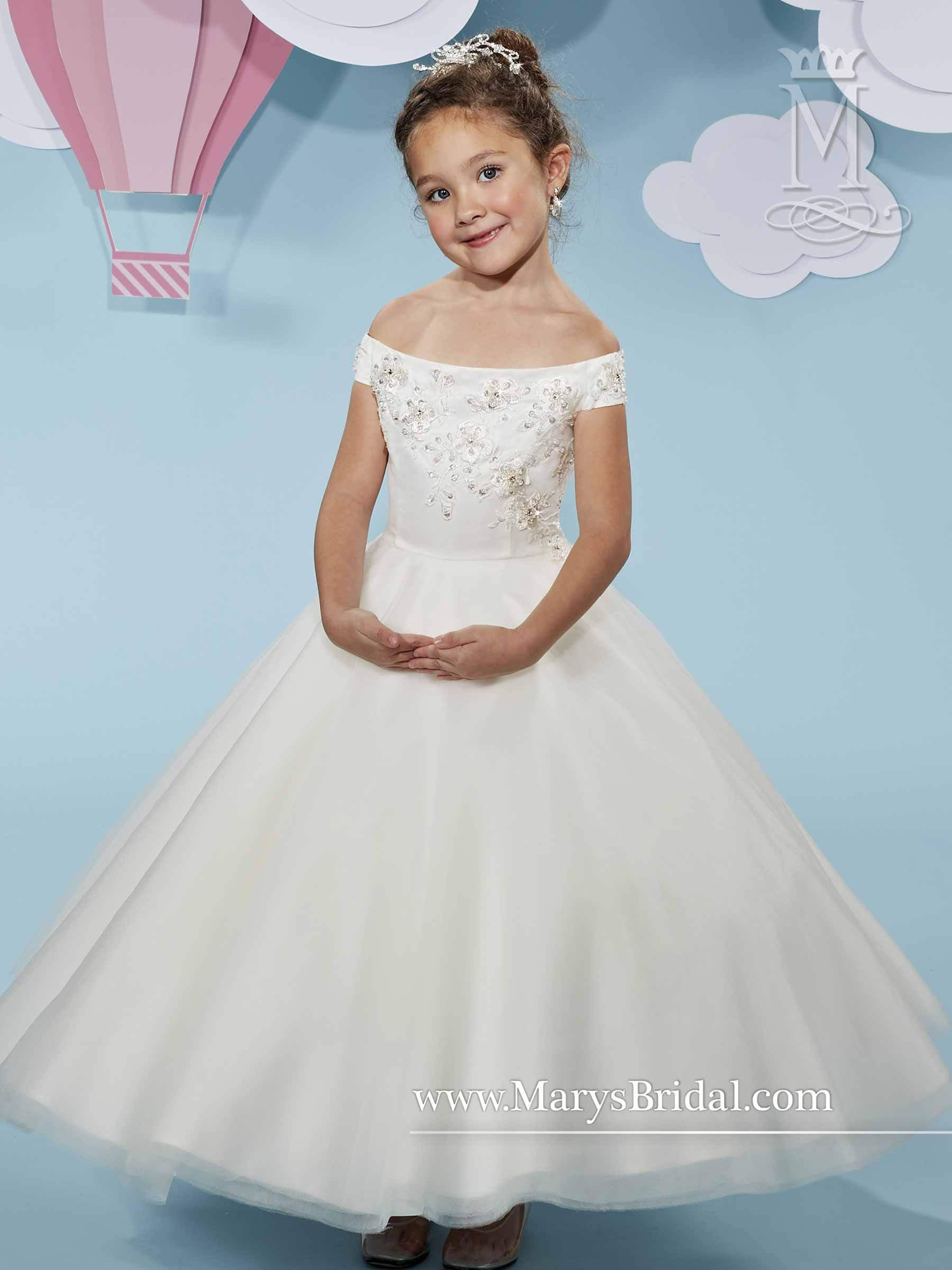 871a3ca2f9d3 Off- shoulder tulle flower girl ball gown with beads and embroidery on  bodice, back zipper.