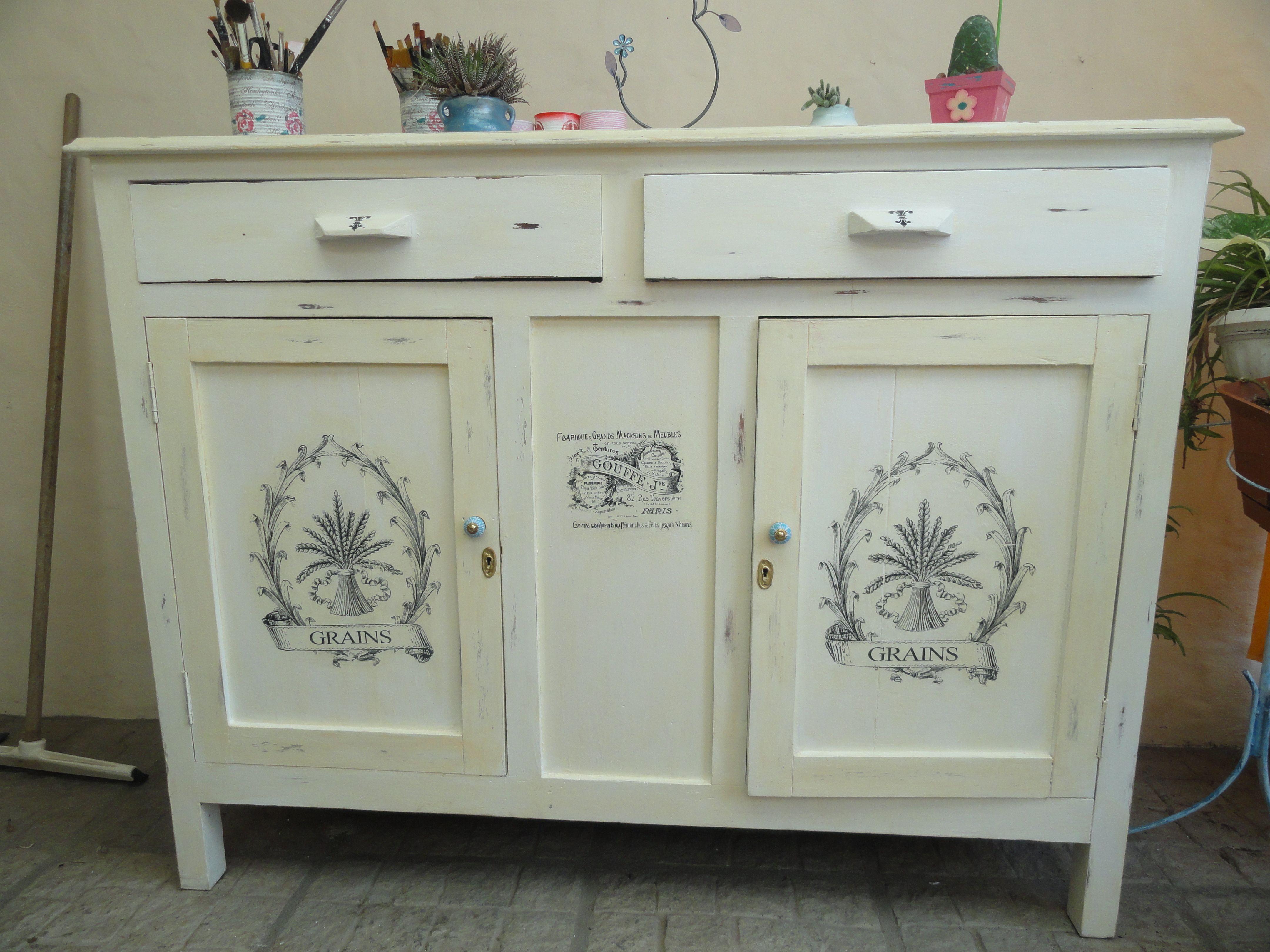 Mueble antiguo patinado y con transferencias algo de - Ideas para pintar muebles ...