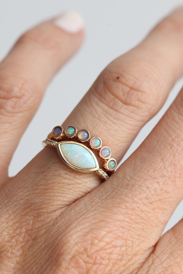 Opal Wedding Band.Rose Gold Opal Ring Set Marquise Ring Set 14k Gold Australian Opal