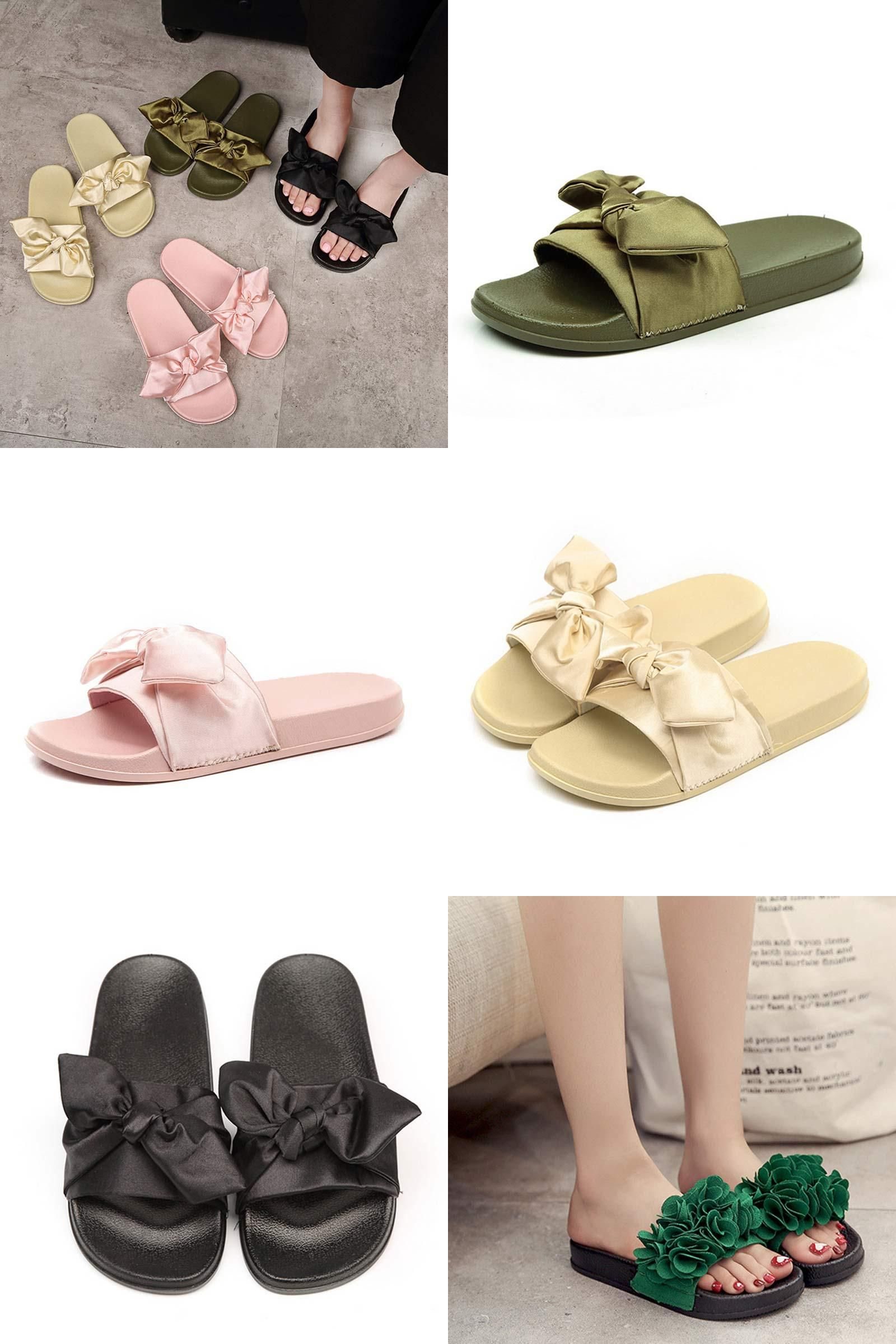 32affd80f  Visit to Buy  Silk Bow Slides Women Summer Beach Shoes Woman No Fur  Slippers Flat Heels Flip Flops Ladies Rihanna Bohemia Sandals  Advertisement