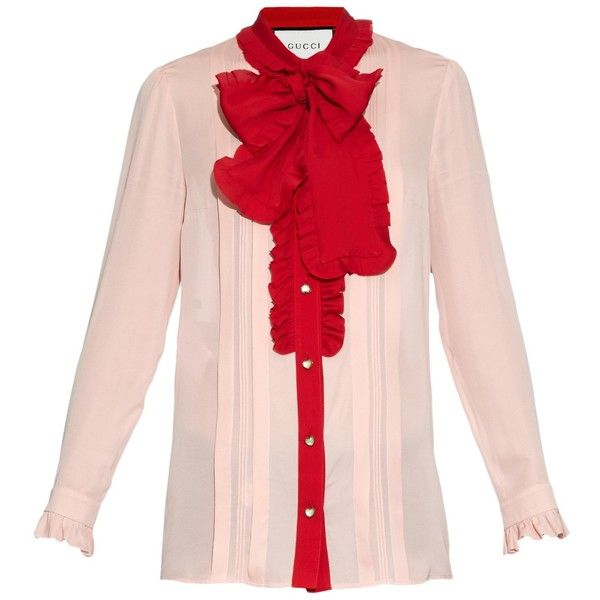 68d289febe9f Gucci Ruffle-trimmed silk-crepe blouse (2,225 CAD) ❤ liked on Polyvore  featuring tops, blouses, gucci, light pink, flounce tops, bow tie neck  blouse, ...