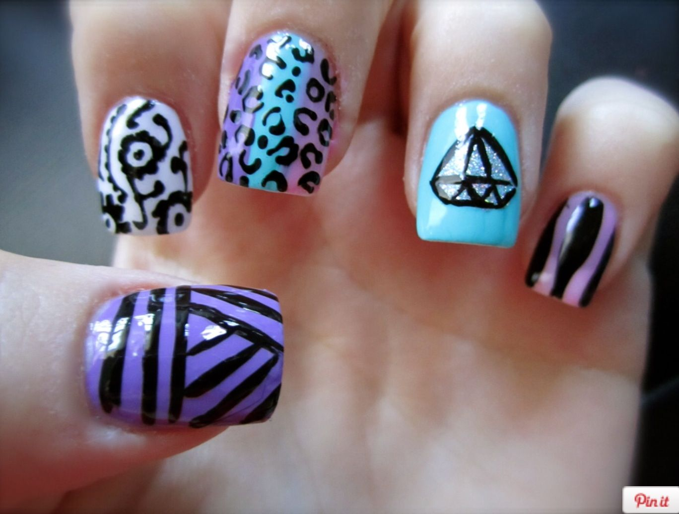Colorful Cute Fun Nails Nails Pinterest Fun Nails
