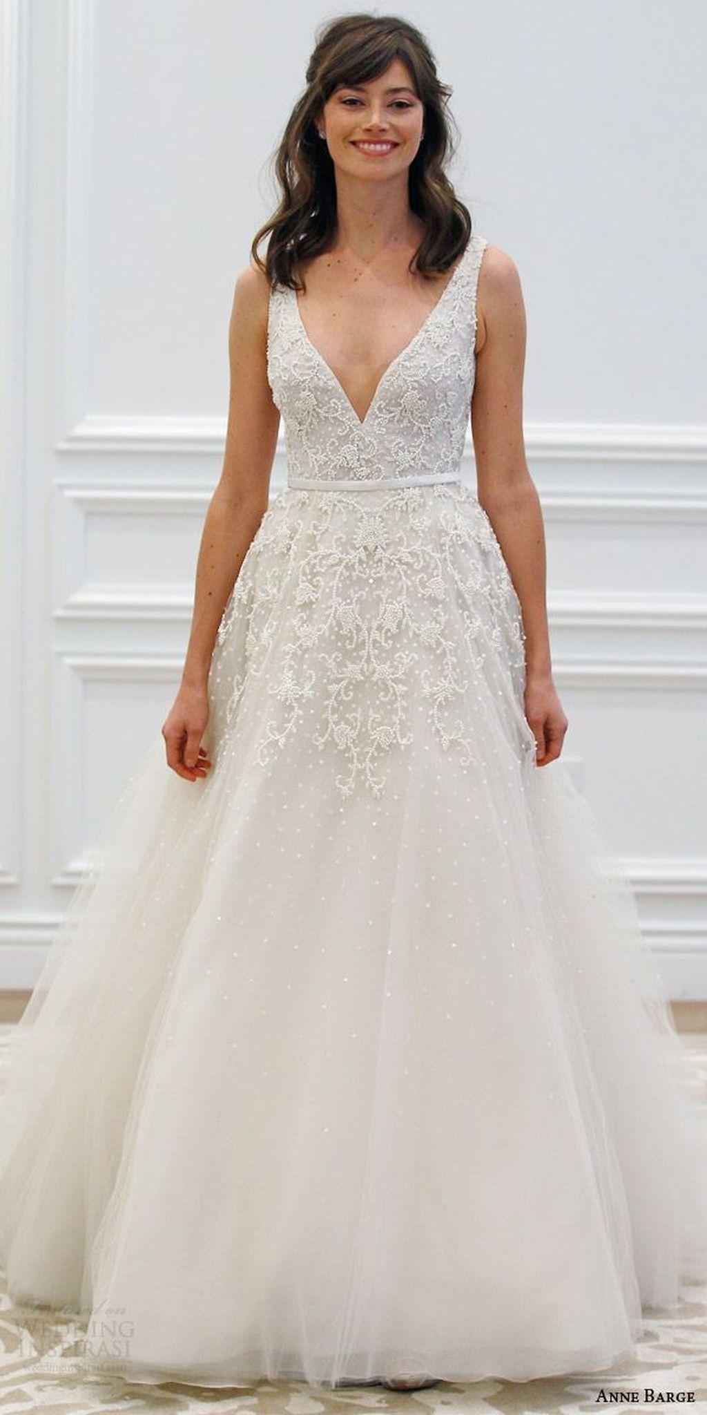 gorgeous v neck tulle wedding dress ideas dress