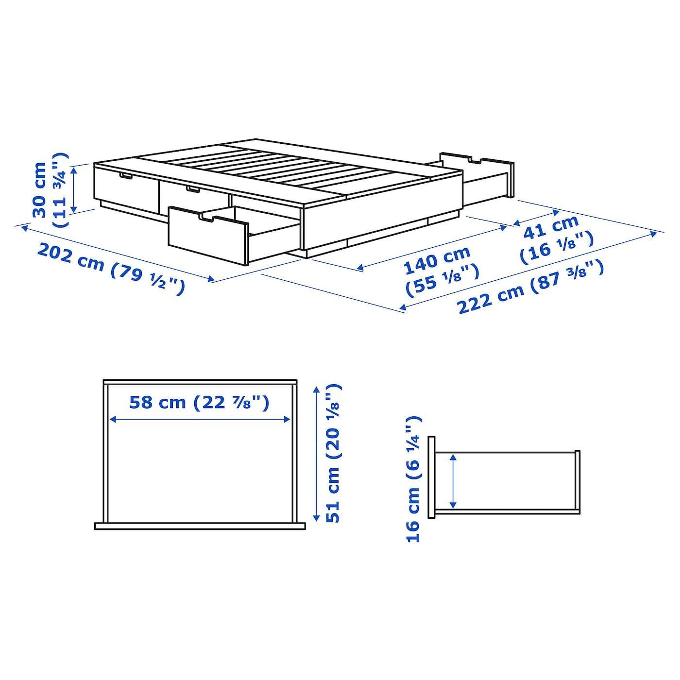 Nordli Struttura Letto Con Cassetti Bianco 140x200 Cm Ikea It In 2020 Bettgestell Schubladen Ikea