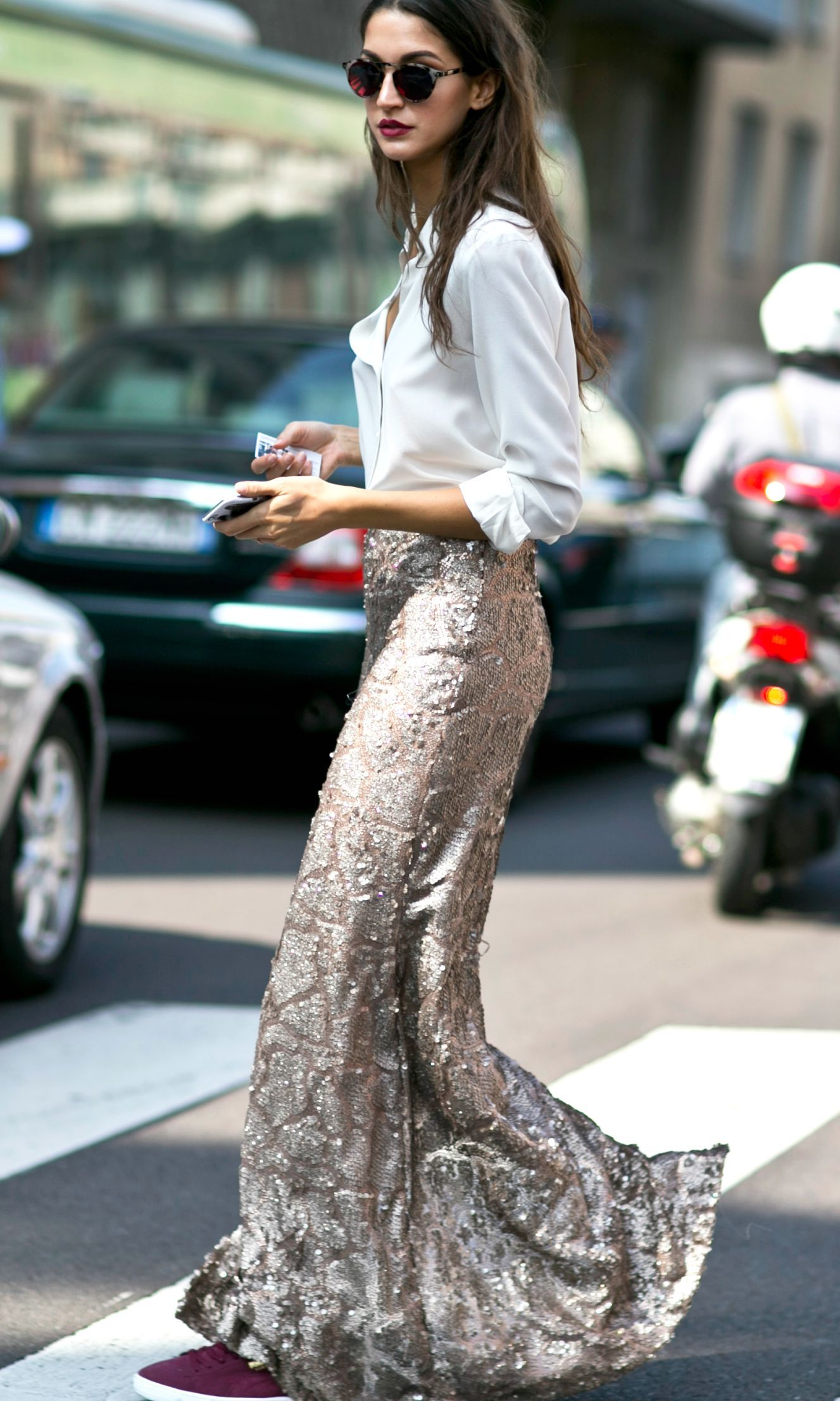 2a9b807b2 See All the Milan Fashion Week Street Style Fall 2015 | A white button-down  blouse styled with a gold sequined maxi skirt and burgundy suede sneakers