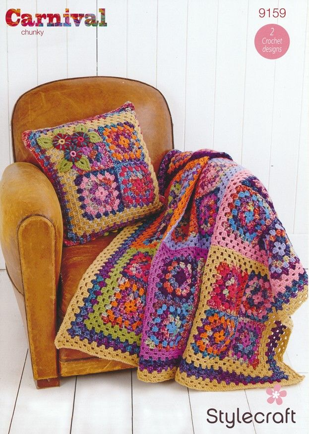 Granny Square Throw and Cushion in Stylecraft Carnival Chunky ...