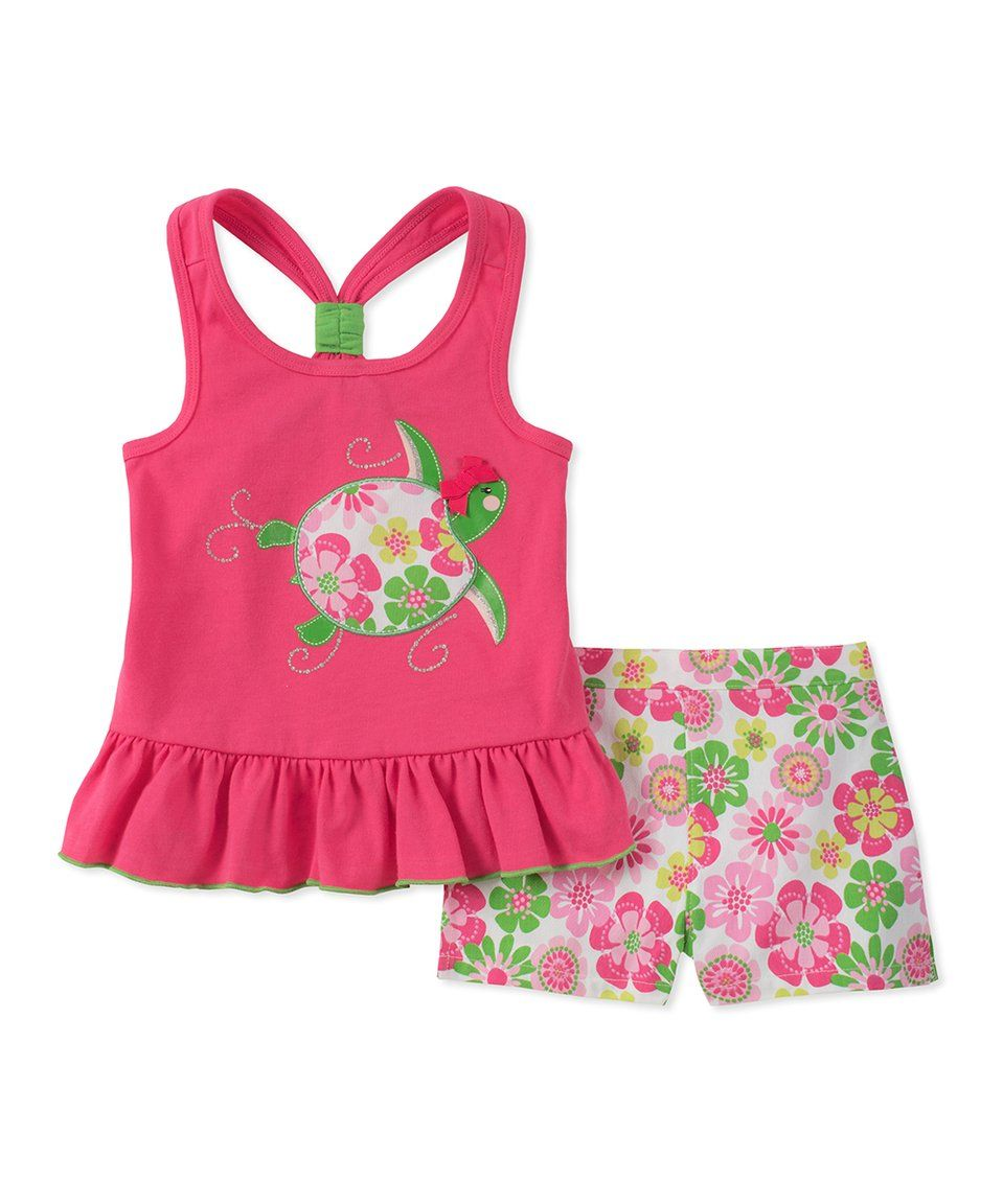 b21d619274 Take a look at this Hot Pink Racerback Turtle Tank & Green Floral Shorts  Set - Infant, Toddler & Girls today!