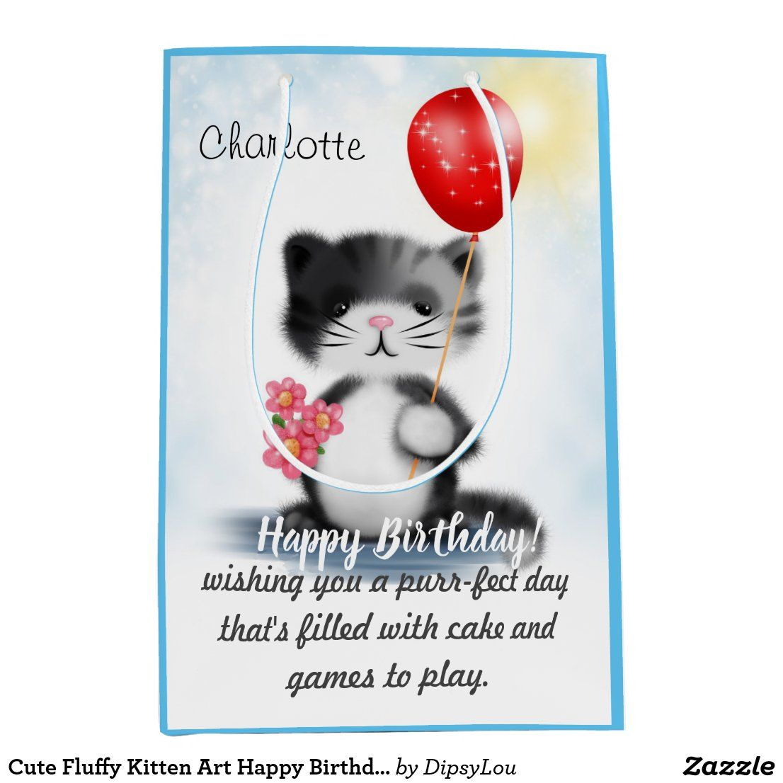 Cute Fluffy Kitten Art Happy Birthday Poem Medium Gift Bag | Zazzle.com