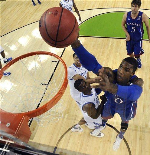 Kansas Forward Thomas Robinson 0 Drives The The Basket During The First Half Of An Ncaa Final Four College Bas Ncaa Final Four Basketball Tournament Jayhawks