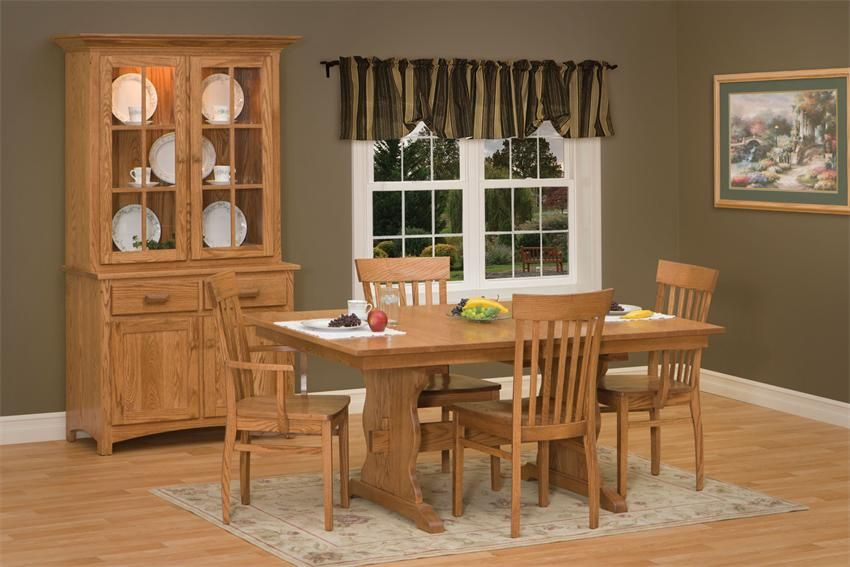 Amish Trenton Trestle Extendable Dining Table Dining Room Table