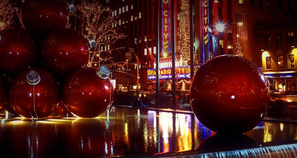 Oversized Christmas Ornaments Times Square New York City  Im