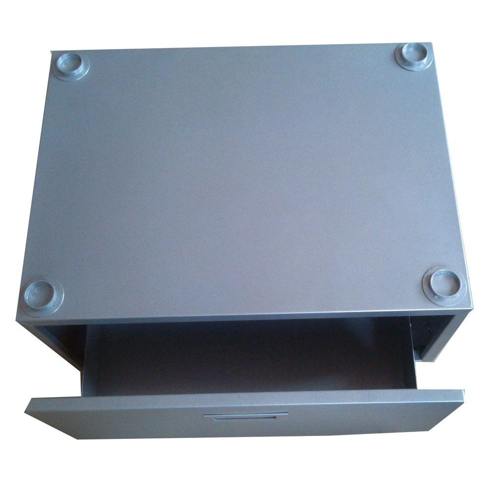 Equator 10 in. High Pedestal in Silver with Storage Drawer