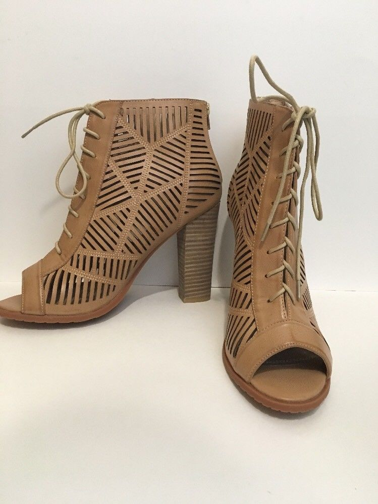 f05dbd3090a Chelsea Moreland Soho Open Toe Lace Up Cage Ankle Booties Sz 10 Tan Brown  Heel  ChelseaMoreland  AnkleBoots  Party
