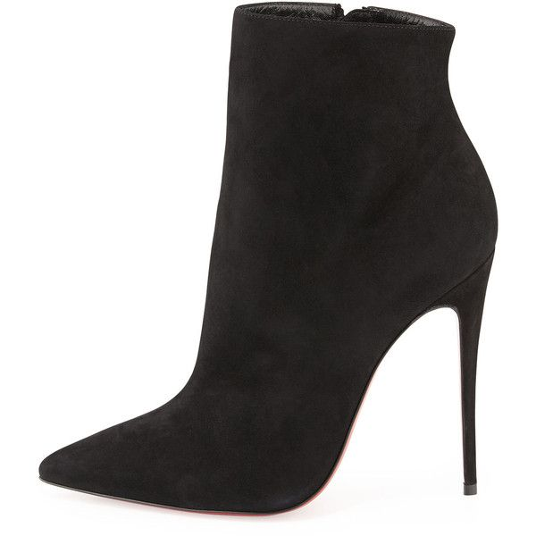 Christian Louboutin So Kate Suede Red Sole Bootie (3.975 BRL) ❤ liked on Polyvore featuring shoes, boots, ankle booties, high heel ankle boots, black pointed toe booties, high heel booties, black high heel booties and ankle boots