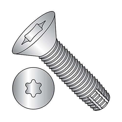 2 Length 82 Degree Flat Head Star Drive 18-8 Stainless Steel Thread Cutting Screw Plain Finish Type F 1//4-20 Thread Size Pack of 10