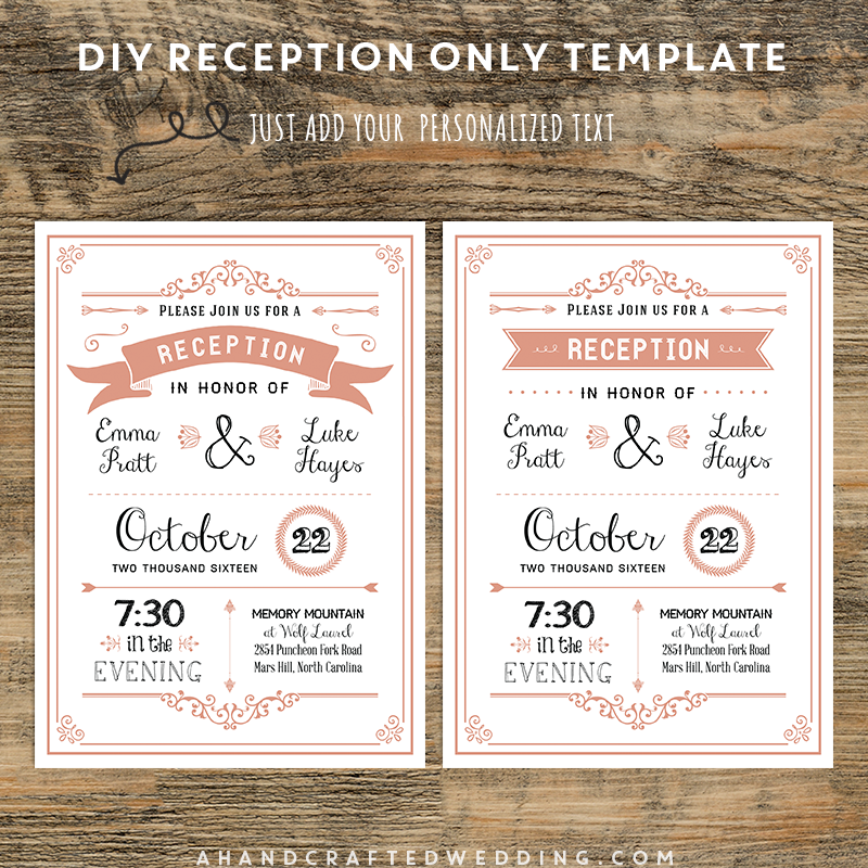 C Diy Reception Only Invitation Ahandcraftedwedding Wedding Printables