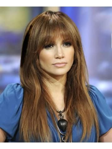 Jennifer Lopez Long Straight Hair Wig With Bangs