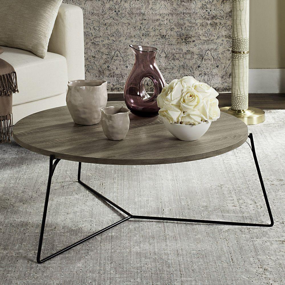 Safavieh Modern Contemporary Round Coffee Table Grey Coffee Table Coffee Table Wood Round Wood Coffee Table [ 1000 x 1000 Pixel ]