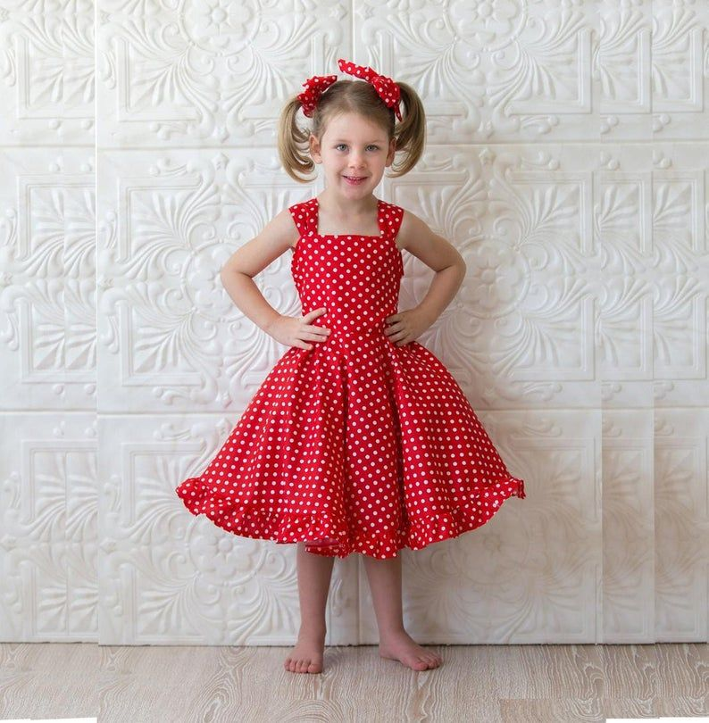Photo of Girls red dress, Red party dress, Red polka dot dress, Twirl…