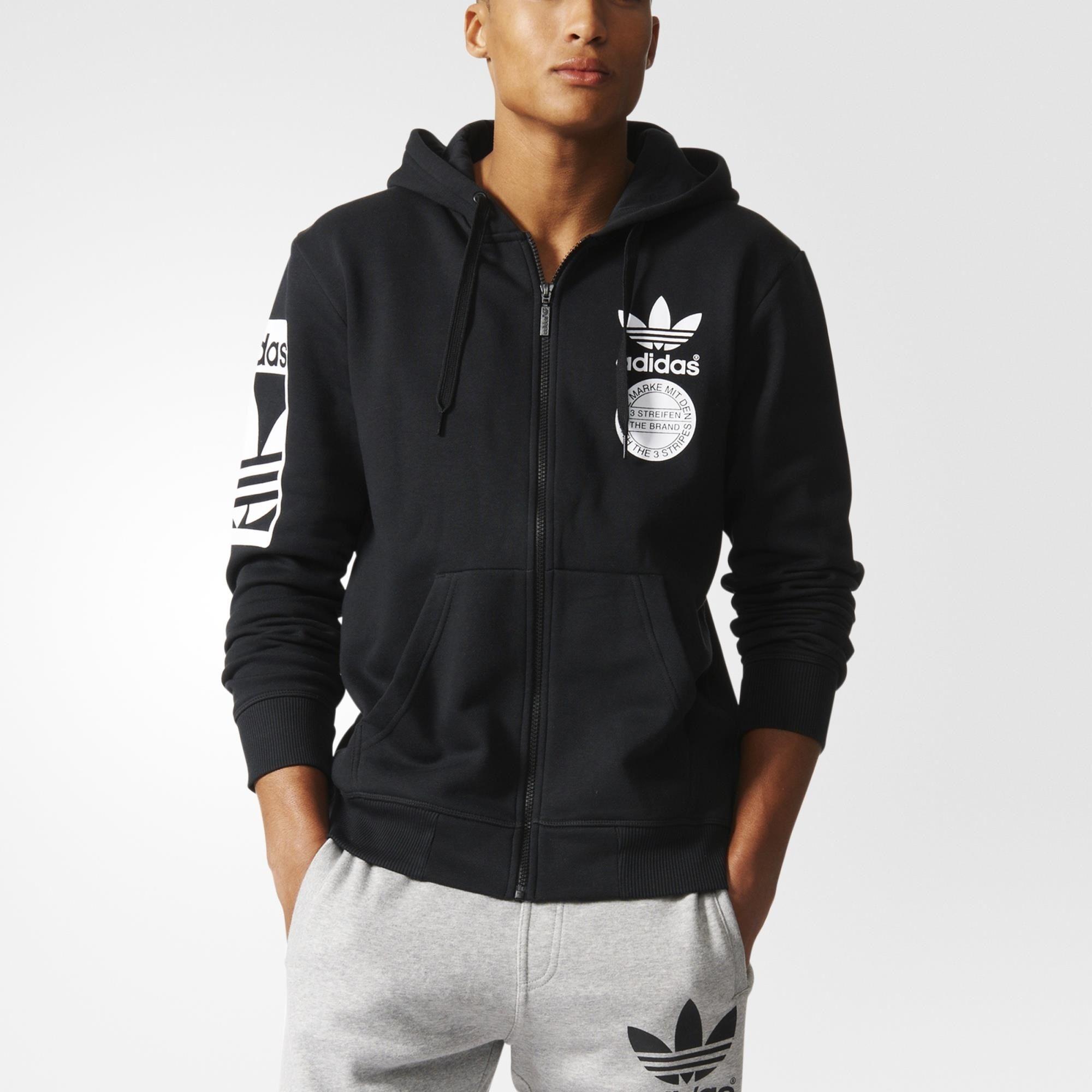 adidas 3 Streifen Core 14 Zip Sweatshirt Grau | adidas