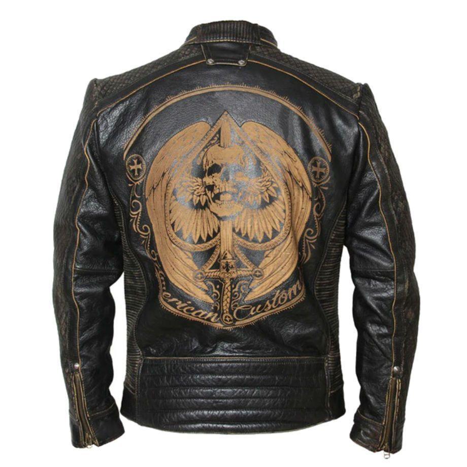 Vintage Motorcycle Jacket Mens Leather Jacket Cowhide