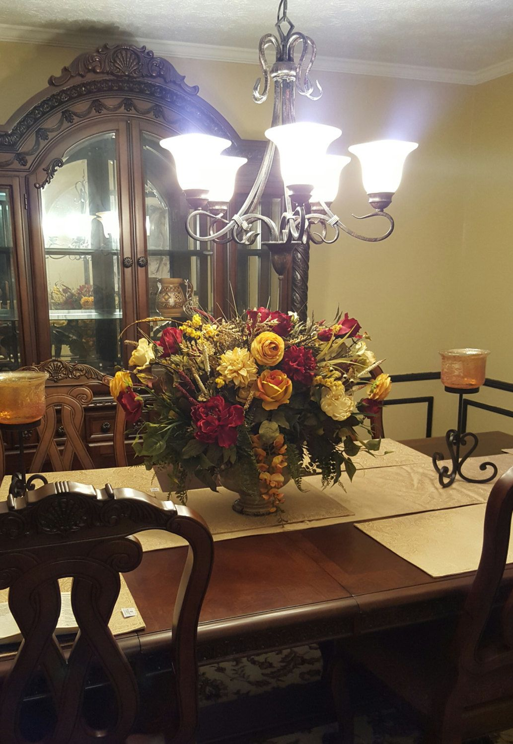 Floral Arrangement Floral Centerpiece Shipping Included Elegant Designer Tuscan Table Floral Arrangements Dining Room Table Centerpieces Foyer Decorating