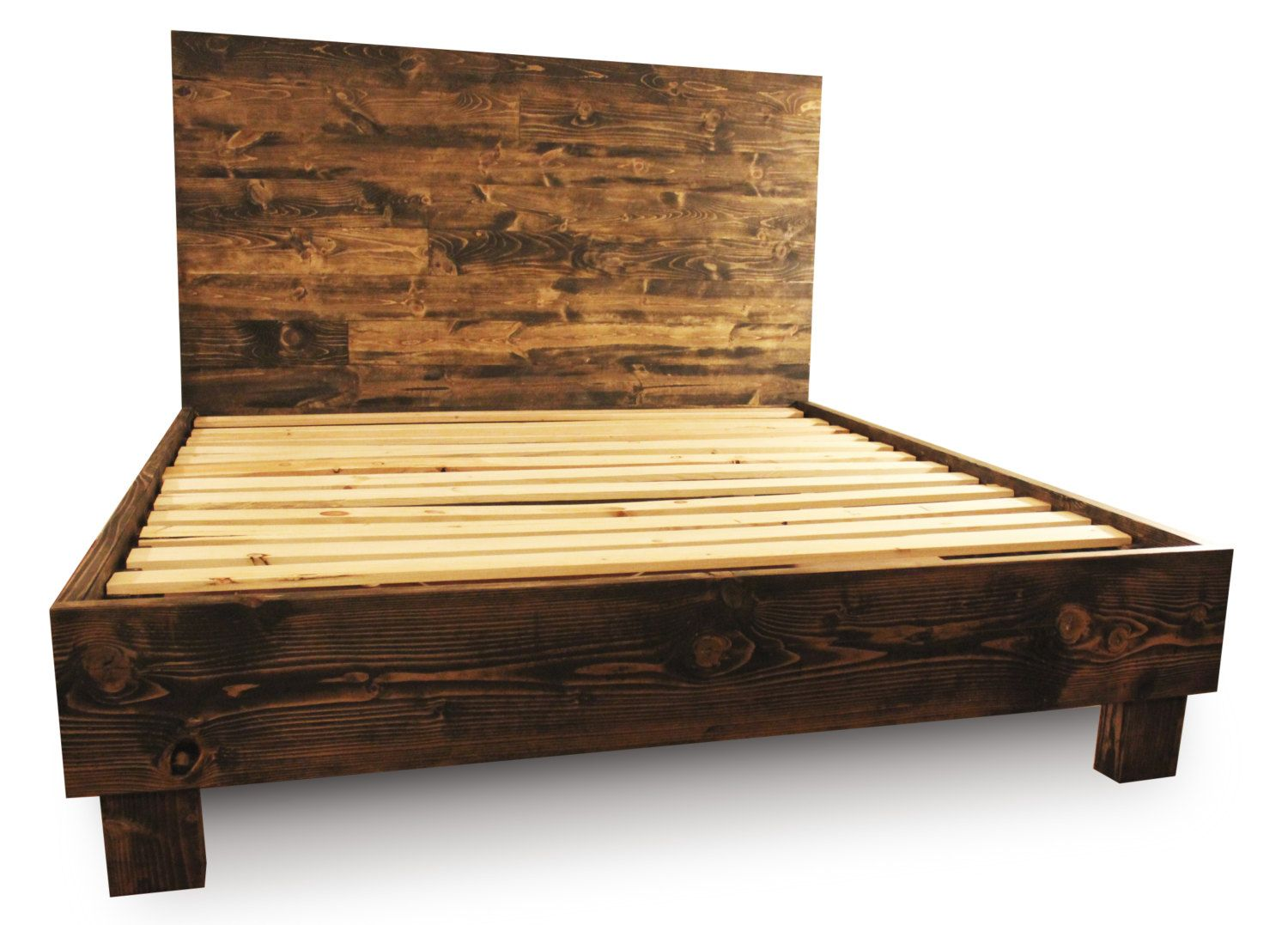 rustic wood platform bed frame and headboard farm house reclaimed style - Solid Wood Platform Bed Frame