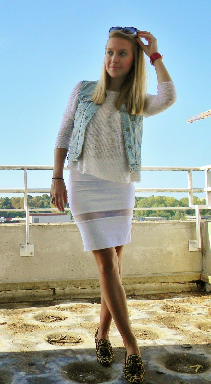 Women's Light Blue Denim Vest, White Long Sleeve T-shirt, White ...