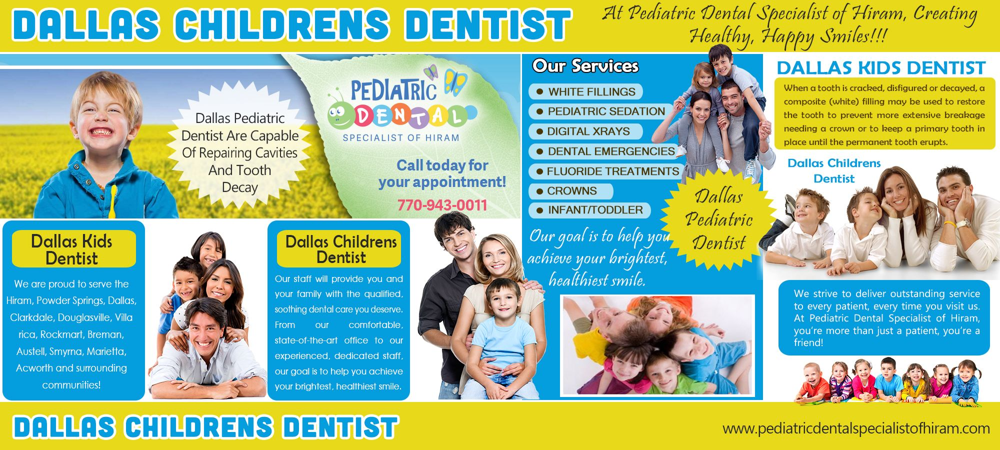 Check Out The Website http://pediatricdentalspecialistofhiram.com/dallas-pediatric-dentist/ for more information on Dallas Pediatric Dentist. A Dallas Pediatric Dentist sees only children. Some service patients ages birth to eighteen while some prefer to focus on the life and lime of primary teeth only.  Follow Us : http://www.showmelocal.com/profile.aspx?bid=18808836