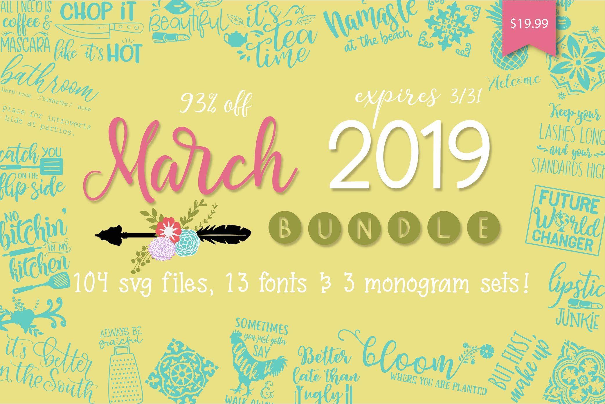 So Fontsy March 2019 Bundle Commercial use fonts, Svg