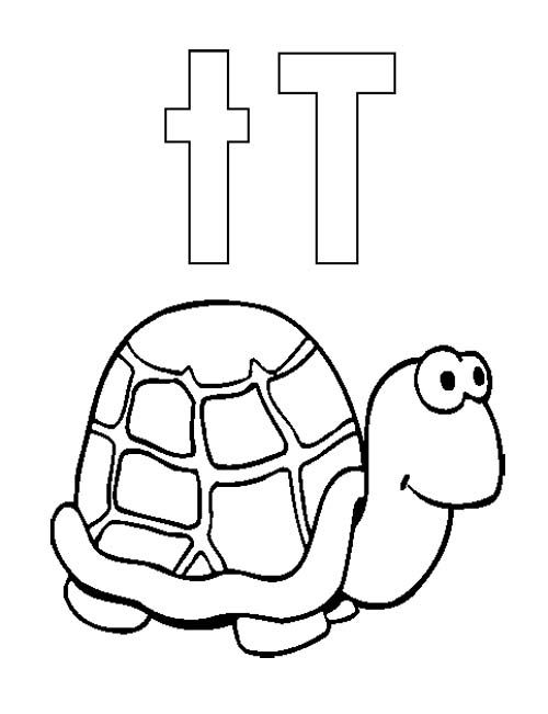 T for cute turtle coloring pages