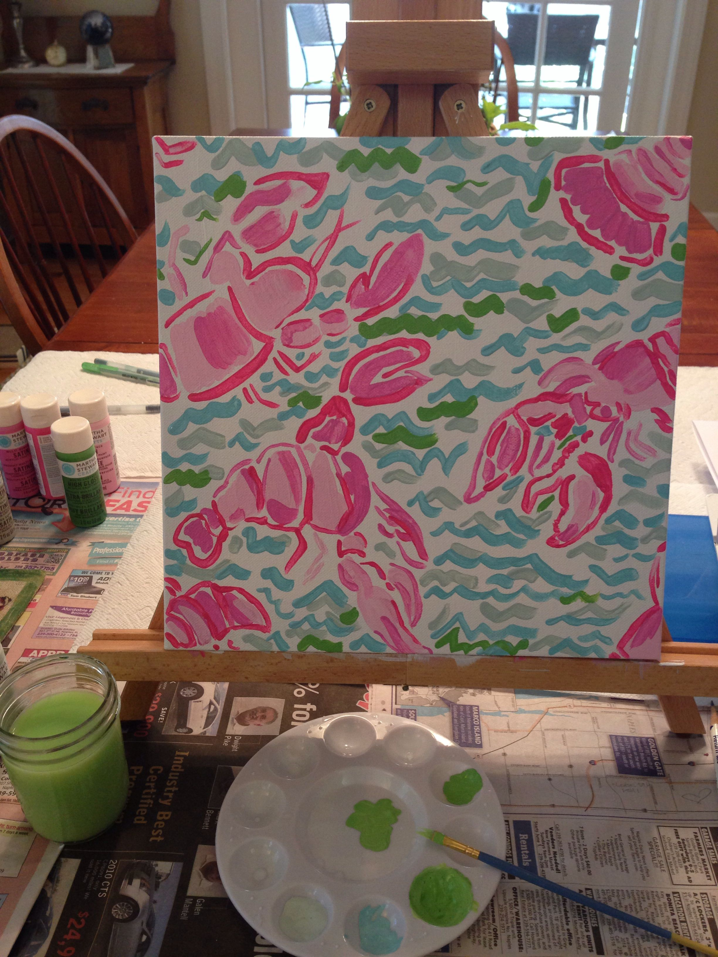 Lobstah Roll // Lilly Pulitzer inspired canvas painting.... I think ...