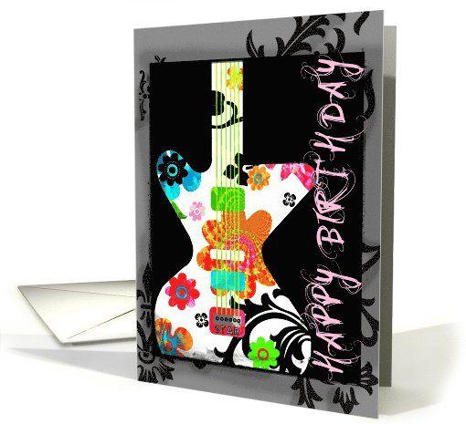 happy birthday bright floral guitar on grunge border