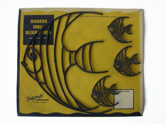 Mid Century fish wall decorations Atomic 50s Made by VintageBreda ...