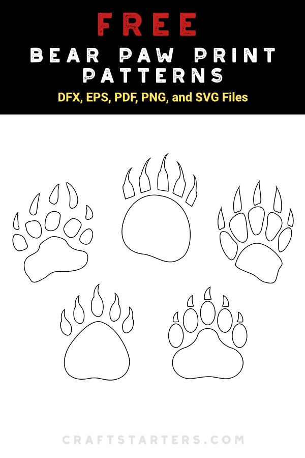 Free bear paw print patterns for crafting (personal use