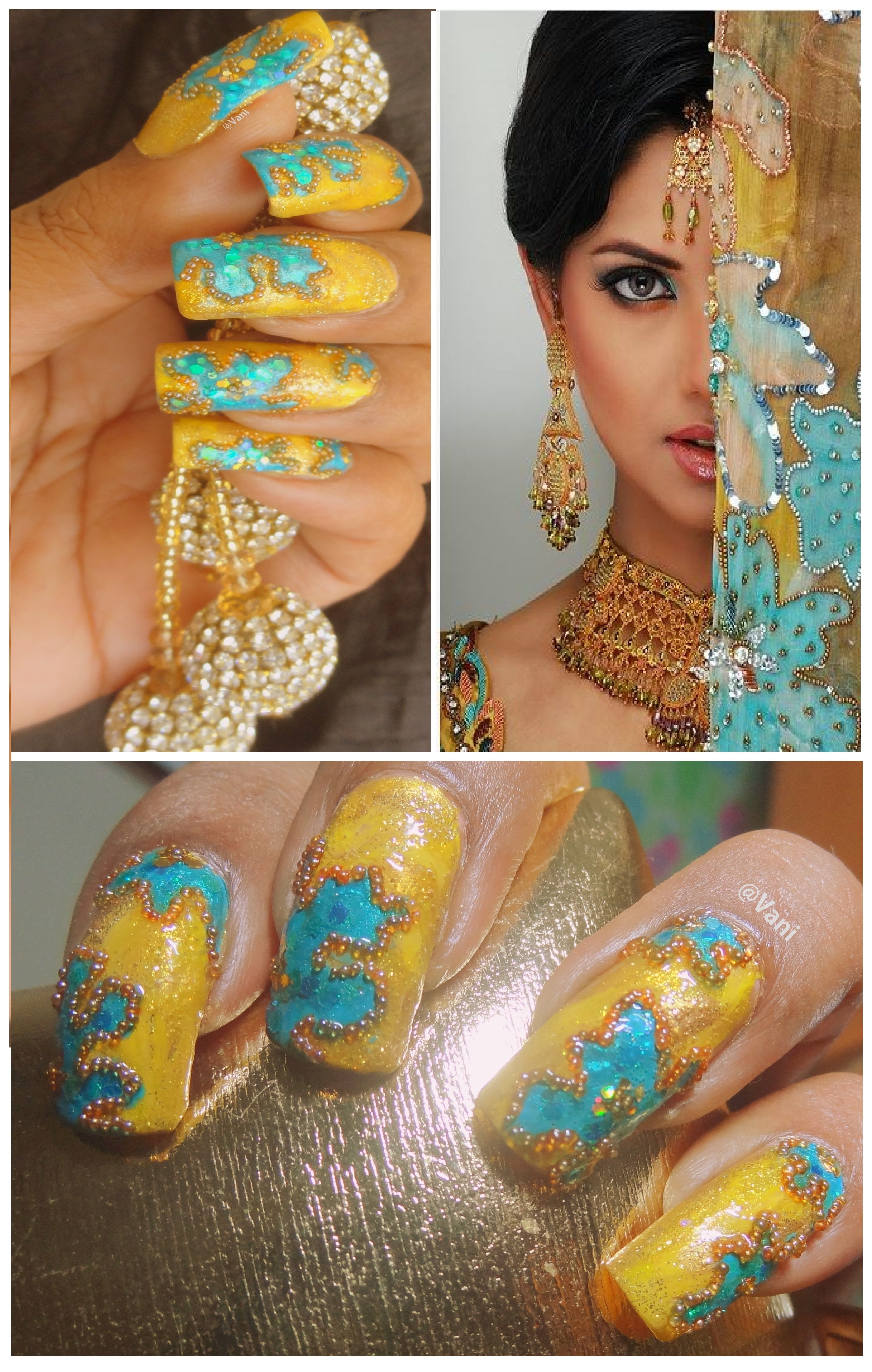 Indian Bridal Dupatta inspired nails #handpaintednailart # ...