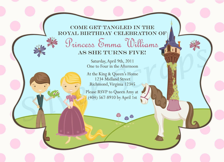 Tangled Rapunzel Princess Custom Digital Birthday Party Invitation ...