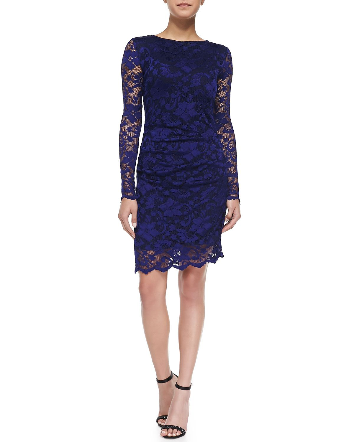 793c1da0b9f6 Long-Sleeve Lace Overlay Cocktail Dress, Size: 6, Royal Blue - Nicole Miller