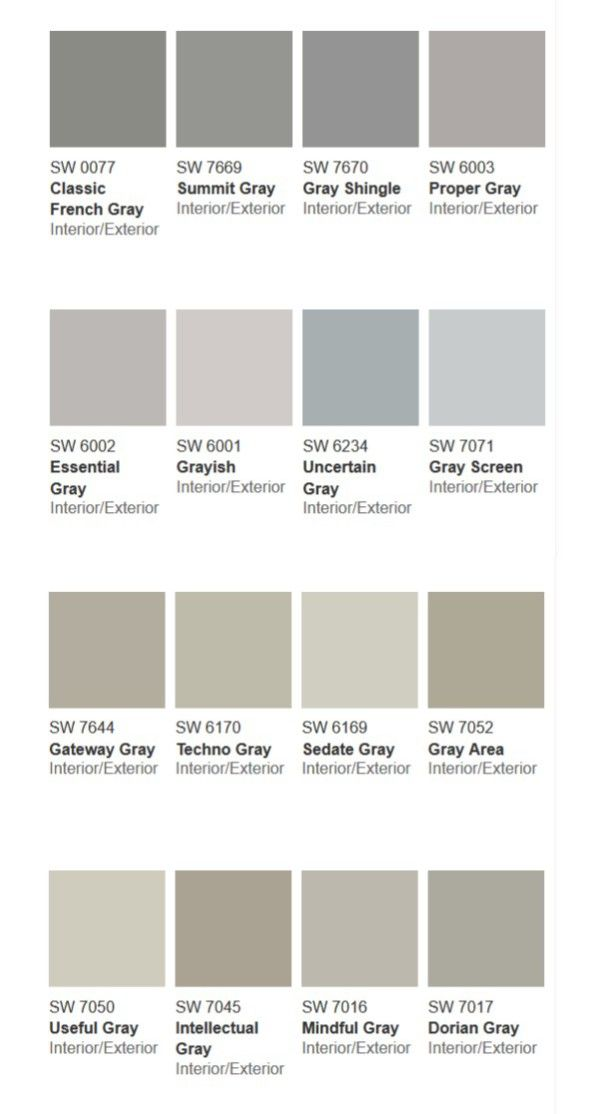 More than 50 shades of gray paint shades of grey - Sherwin williams exterior paint colors chart ...