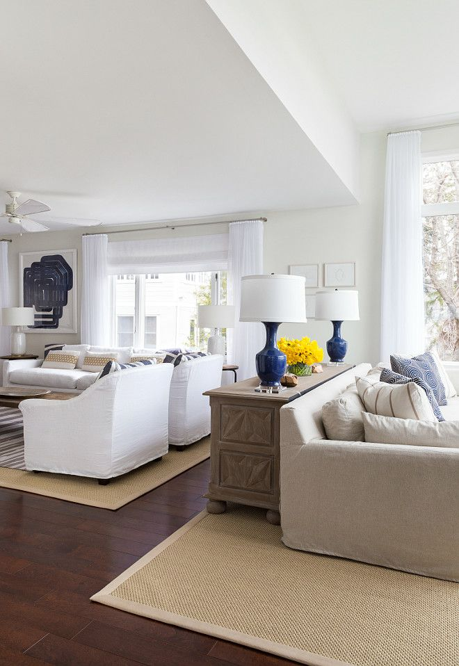Beach House With Subtle Blue And White Interiors Home Bunch An Interior Design Lux Long Living Room Design Long Living Room Living Room Dining Room Combo